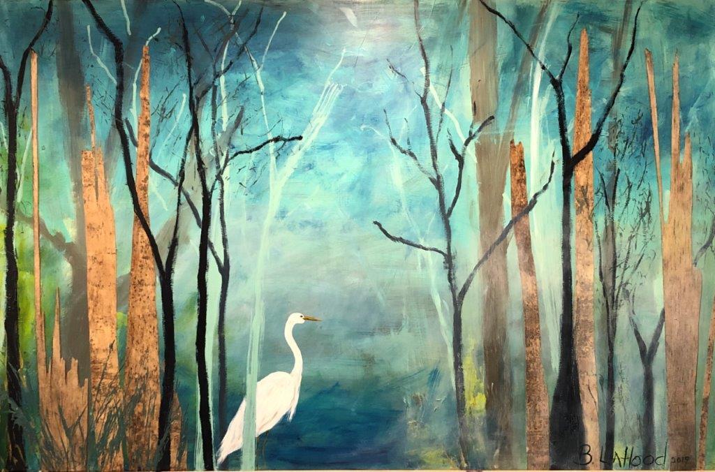 Egret 48 x 72 Artist Buddy LaHood Landscape Painting