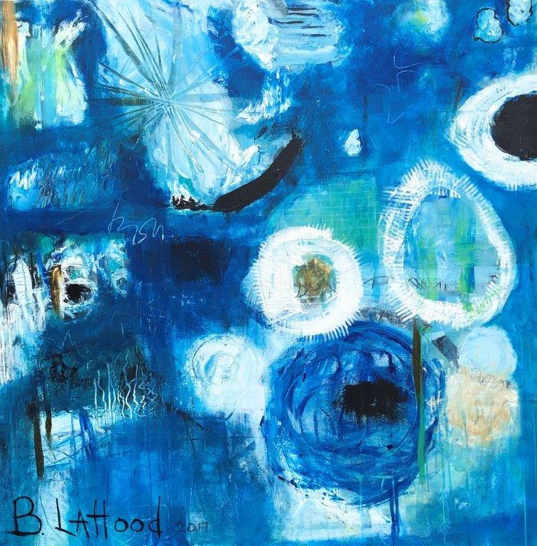 Cosmic Bloom 48 x 48 acrylic on gallery wrapped canvas Painting by Artist Buddy LaHood