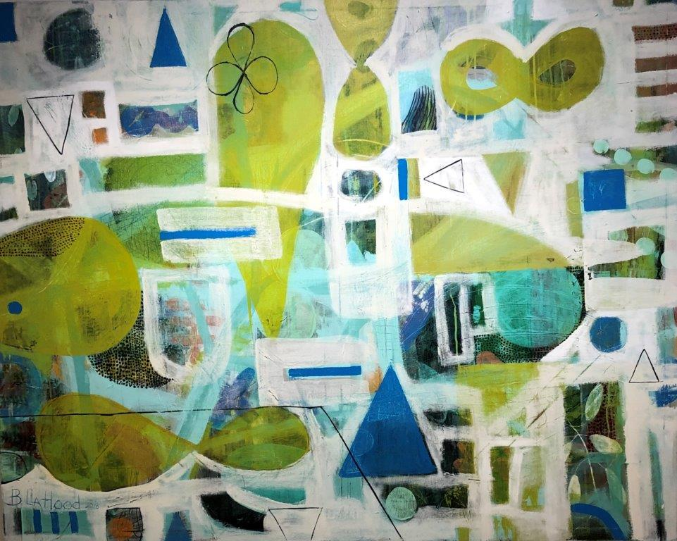 Chartreuse Jigsaw Abstract Painting by Artist Buddy LaHood
