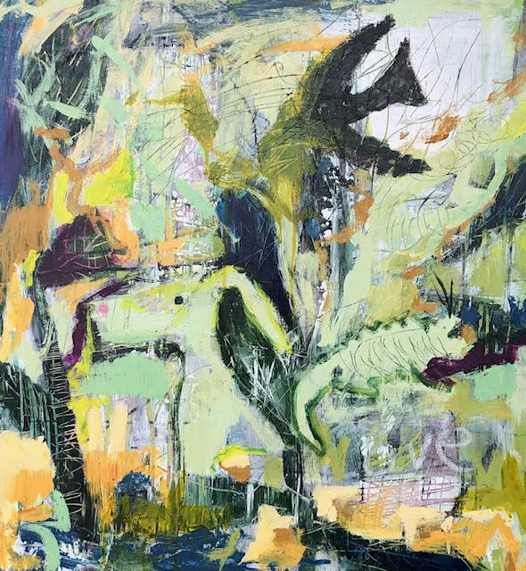 Green Jungle abstract painting by artist Buddy LaHood